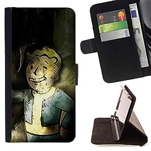 BullDog Case - FOR/Apple Iphone 4 / 4S / - / Vintage Retro Vault Boy Grunge /- Monedero de cuero de la PU Llevar cubierta de la caja con el ID Credit Card Slots Flip funda de cuer