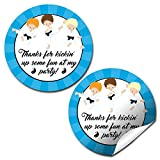 Karate Martial Arts Boy Thank You Birthday Party Sticker Labels, 20 2'' Party Circle Stickers by AmandaCreation, Great for Party Favors, Envelope Seals & Goodie Bags