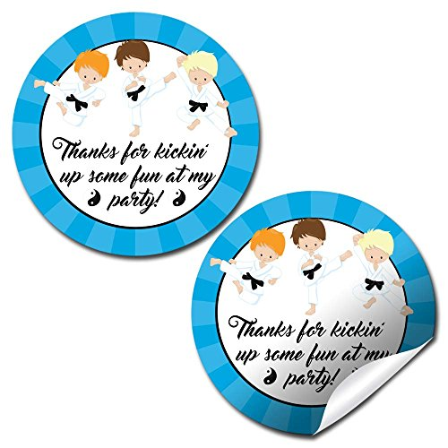 Karate Martial Arts Boy Thank You Birthday Party Sticker Labels, 20 2'' Party Circle Stickers by AmandaCreation, Great for Party Favors, Envelope Seals & Goodie Bags by Amanda Creation