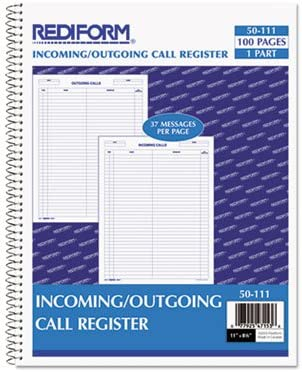WE Incoming//Outgoing Call Register,100 Shts//Bk 11 quot;x8-1//2 quot;