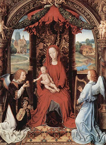 Home Comforts Peel-n-Stick Poster of Memling, Hans - Enthroned Madonna and Angels Playing Musical Instruments Vivid Imagery Poster 24 x 16 Adhesive Sticker Poster - Instruments Angels Musical Playing