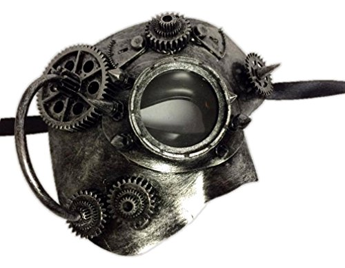 [Silver Steampunk Phantom Half Mask Goggle Mens Womens Masquerade Robot Cyber] (Female Robot Costumes)