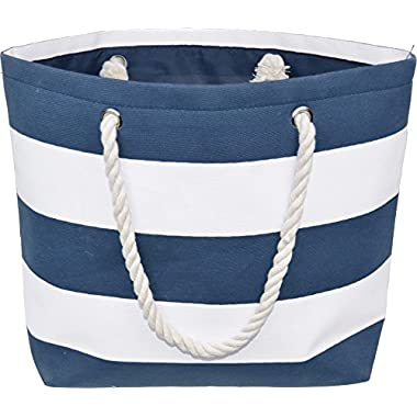 Large Water Resistant Canvas Striped Beach Bag - Inside Lining, Zippered Inner Pocket & Top Handle (Navy Blue/White)