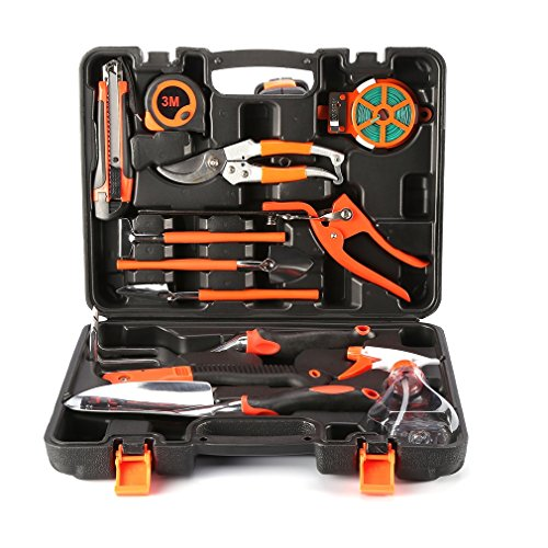 Garden Tool Set OUTAD 12 Pieces Gardening Tools Plant Care Hand Tool Kits for Home Garden with Ergonomic Handles and Carrying Case