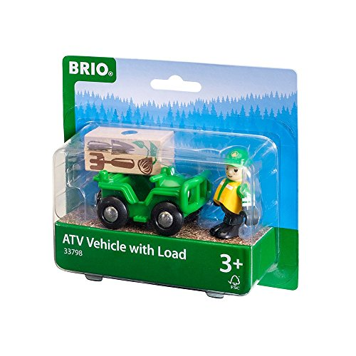 Railway Stock - New! 33798 BRIO ATV Quad with Load (Wooden Railway Rolling Stock) Age 3 Years+