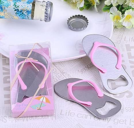 3b084f02cd049 Amazon.com  50pcs Wedding Birthday Party Gift Pink flip-flops design Bottle  Openers with gift box for Guest Gifts Party Favors small wholesale  Kitchen    ...