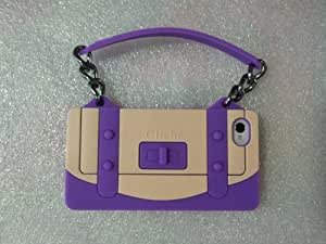 Cute 3d Elegant Luxury Handbag Silicone Cover Case with Chain for Iphone 4s 4g - Deep Purple