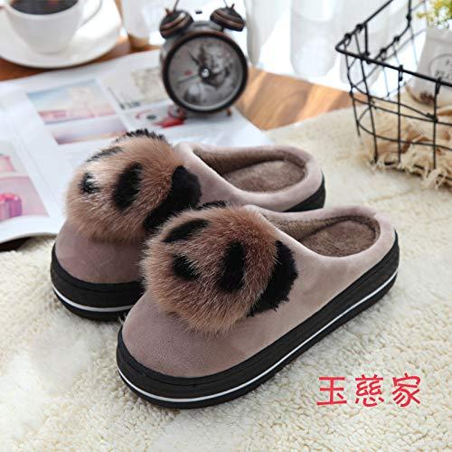 Pantofole Pantofole Pantofole Scarpe Fondo HCBYJ HCBYJ HCBYJ HCBYJ casa e Inverno Autunno di Caldo Signore Coperta Cotone Spesso calde Khaki Morbido pzErqEdw