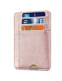 HOTCOOL Front Pocket Minimalist Leather With RFID Card Holder Wallet,Rose Gold