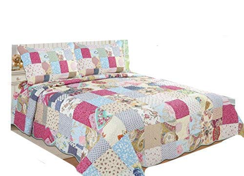 ALL FOR YOU 3-piece Reversible Bedspread/Coverlet / Quilt Set- OverSize-Real patchwork (king)