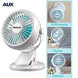 [White]Aux mini fan Mini bed portable mute student hostel clip fan office USB electric fan table Wall hanging Table Folder fan
