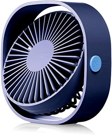 HOPEME 4 Desk Personal Fan with 3.8ft USB Cable, 3 Speeds and 360 Rotatable Vertically Blue Color Mini Small Fan, Quiet Operation and Strong Wind,Suitable for Office Home