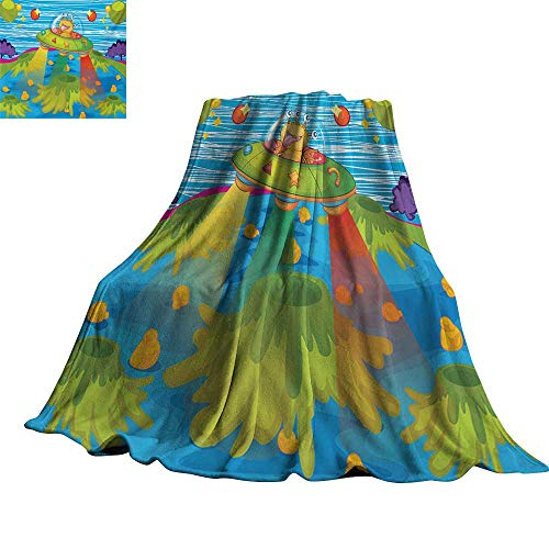 Outer Space,Digital Printing Blanket for Kids Scary Monster in UFO on Planet Solar System Galaxy Funky Background Comfortable and Warm Beach Blanket 50