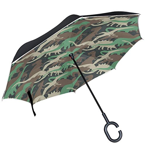 All agree Camouflage Dinosaur Animal Inverted Double Layer Windproof Reverse Umbrella