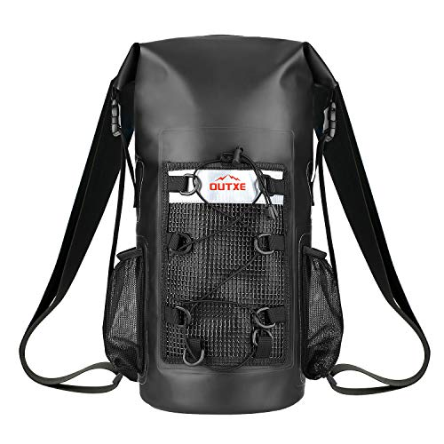 OUTXE 100% Waterproof Dry Bag Backpack 20L Totally Sealed PVC-Free for Water Sports