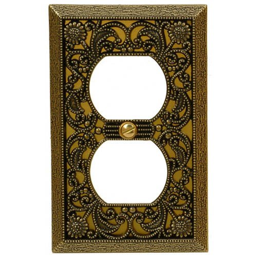 Amerelle 65DAB Filigree Cast Metal 1 Duplex Outlet Wall Plate, Antique Brass