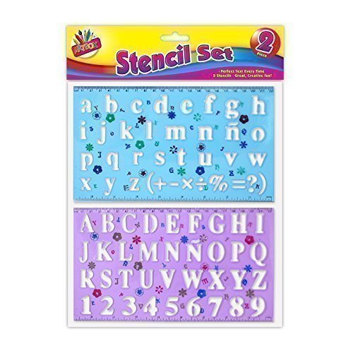The Home Fusion Company 2 X Stencil Set Letters Alphabet Craft Number Lettering Capitals Lower Case