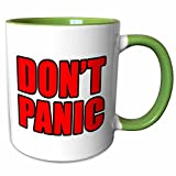 3dRose EvaDane - Quotes - Dont Panic Red - 11oz Two-Tone Green Mug (mug_223911_7)