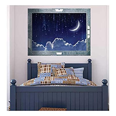 Wall26 - Science Fiction ViewPort - Decal - Stars Raining from the Sky on a Clear Night - Wall Mural, Removable Sticker, Home Decor - 36x48 inches