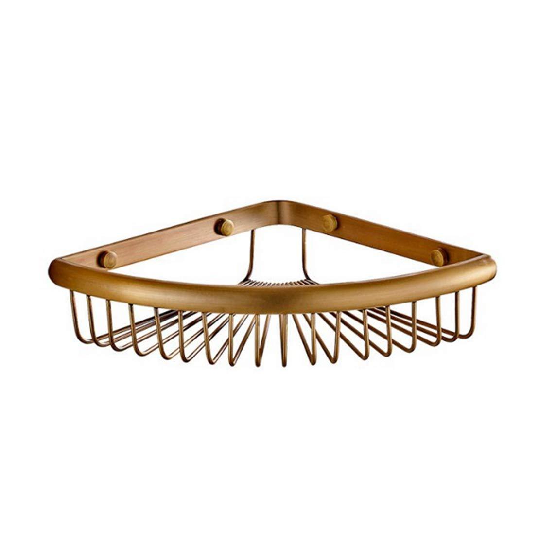 CAFUTY バスルームコーナーシャワーシェルフシャワーストレージ耐久性のある銅シャンプーバスケットホルダーキッチンコーナーシェルフ(シングルレイヤー、ダブルレイヤー、ダブルレイヤーフック) (Color : Metallic, サイズ : Double layer) B07JMSQBST Metallic Double layer