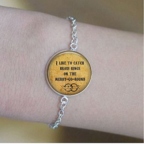 Old Folk Song I Like to Catch Brass Rings on The Merry-Go-Round- Calliope Jewelry - Musical Lyric Bracelets - Merry Go Round - Folk Music