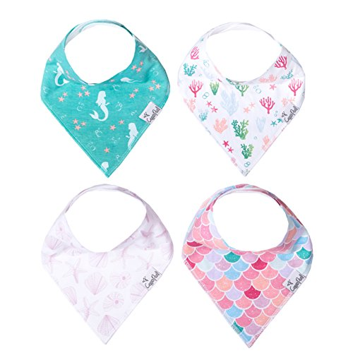 Baby Bandana Drool Bibs for Drooling and Teething 4 Pack Gift Set for Girls Coral Set by Copper Pearl