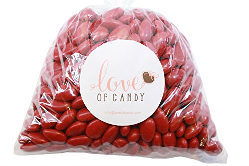 Love of Candy Bulk Candy - Red Jordan Almonds - 1lb Bag