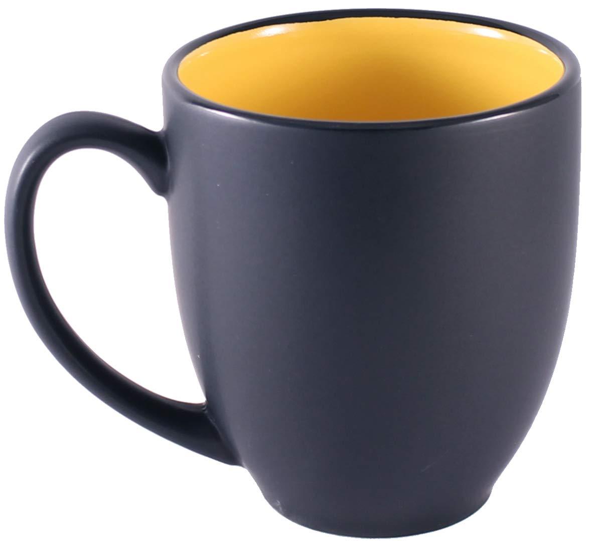 ITI Ceramic Bistro Hilo Coffee Mugs with Pan Scraper 4-Pack, Green 14 Ounce