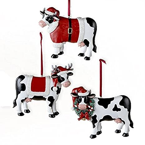 Christmas Cow.Country Marketplace Christmas Cow Ornament 3 Assorted