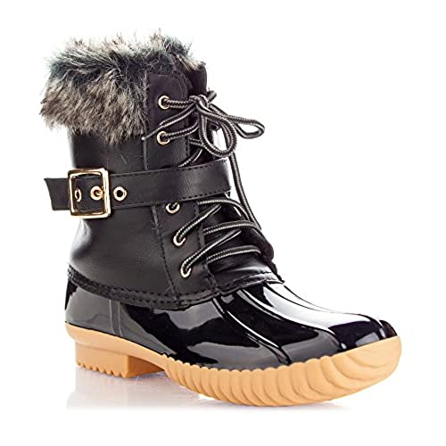 Women's Rubber Mid Calf Warm Water Resistant Faux Fur Fleece Lined Hiking Snow Boots
