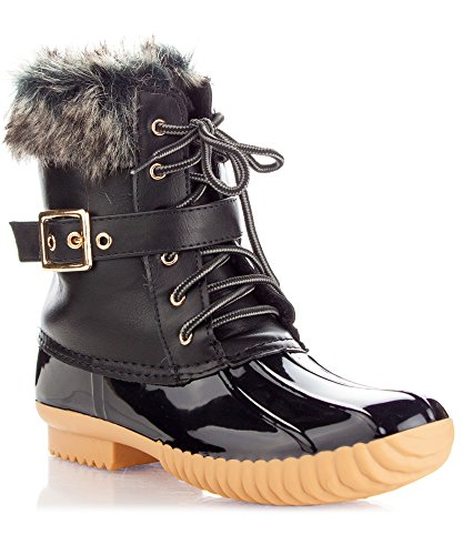 RF ROOM OF FASHION Room of Fashion Women's Rubber Mid Calf Warm Water Resistant Faux Fur Fleece Lined Hiking Snow Boots Black (Fur Lined Duck Boot)