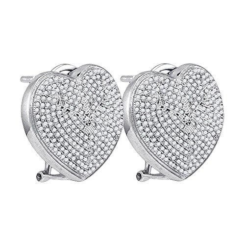 Sterling Silver Womens Round Diamond Heart Love Omega-back Earrings 1.00 Cttw (I2-I3 clarity; J-K ()