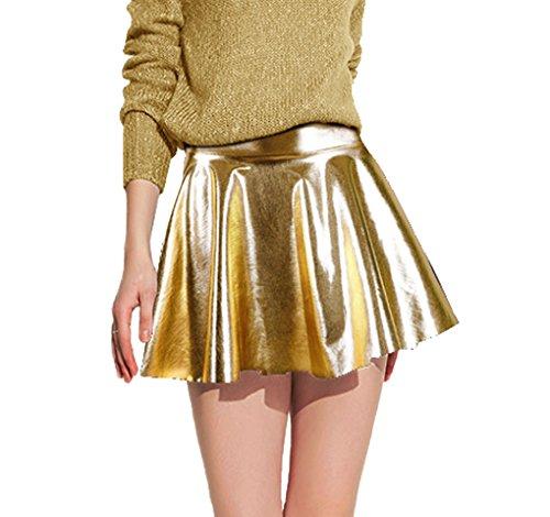 Women's Metallic Flared Pleated Shiny Liquid Wet Look Skater Skirt, Golden One Size