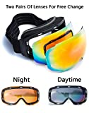 Anti-Fog Anti-UV Windproof Unisex Ski Goggles with Replaceable Spherical Lenses & 3-Layer Foam