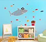 BirthdayExpress Pirate Shark Room Decorations Vinyl Wall Graphic Decal