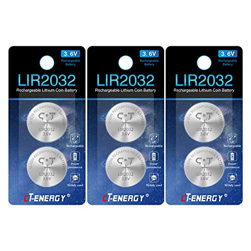 CT ENERGY Rechargeable Lithium Coin Cells LIR2032 Coin Button Li-ion Batteries 2032 with 500+ Charging Cycles Replace CR2023