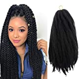 Jumbo Marley Braiding Hair Jumbo Havana Braids 100% Japanese Kanekalon Synthetic Fiber Afro Kinky 4Pcs/Lot Marley Hair for Twists 18 Inch Marley Twist Braiding Hair Extensions (#1B/Natural Black)