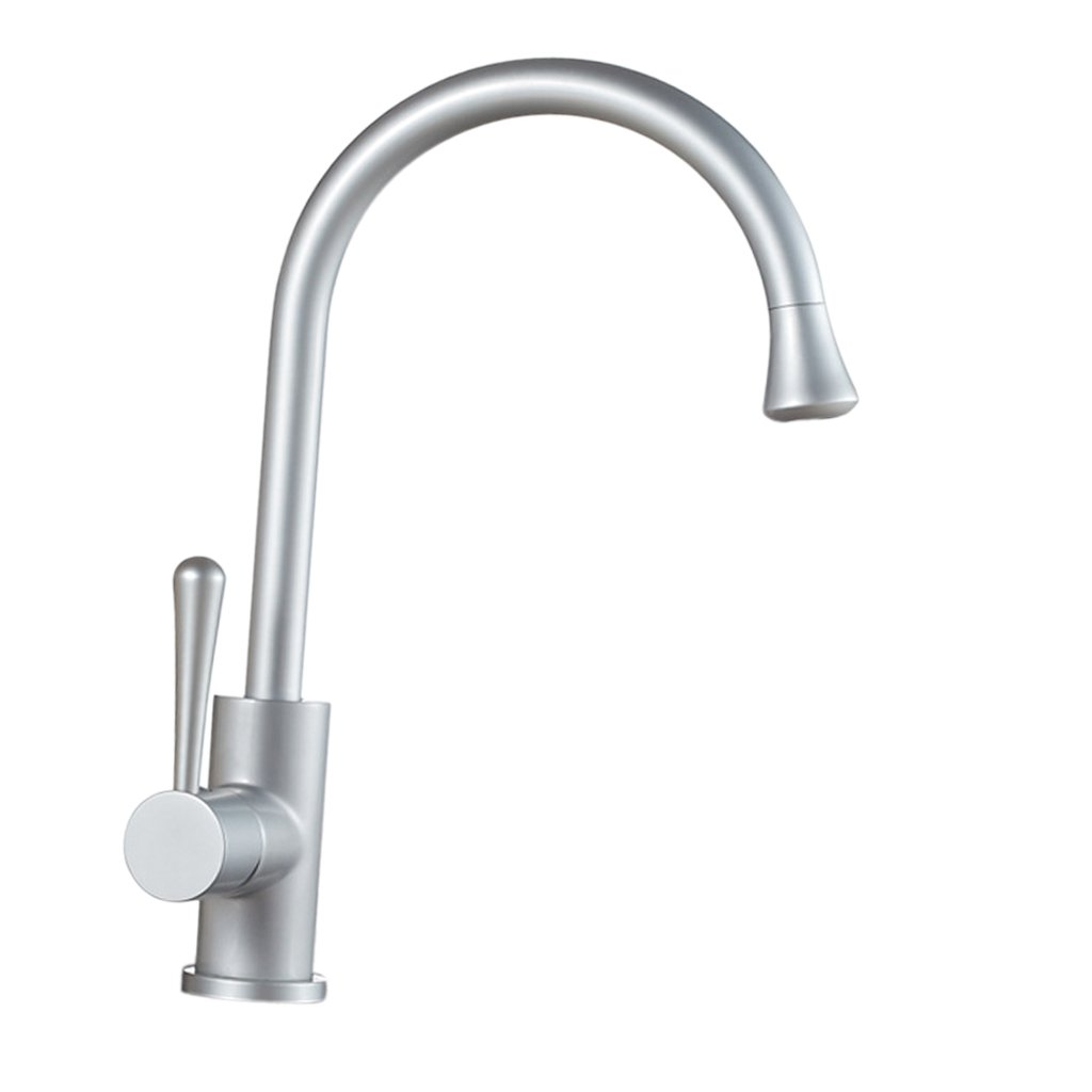 MonkeyJack Single Handle Hole Pull Out Kitchen Mixer Faucet With Sprayer, 360 Swivel, Deck Mounted, High Spout, With Hot & Cold Hose - #1 Glossy Pattern, Space Aluminum