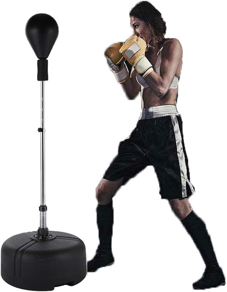 Yiilove フリースタンディングパンチングバッグ スピードボール リフレックス ボクシングバッグ 高さ調節可能 大人&ティーンエイジャー用 ブラック