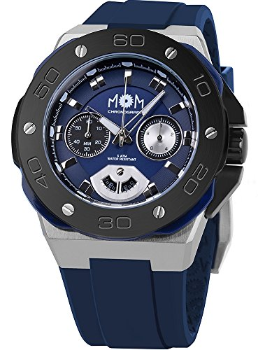 Men's Italian Designed M.O.M.Winner Chrono Stainless Steel with Blue Dial and Blue Silicone Rubber Strap Quartz Chronograph Watch PM7110-13