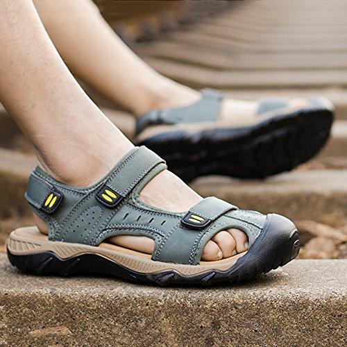Size Escursionismo Sport della per Estate di Sandali Toe 38 Scarpe Closed Reali 48 Green di L'esterno Cuoio Large Sandali Pattini Uomo Extra DSFGHE Spiaggia Uomo qf1U1