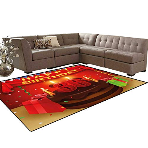 36th Birthday Anti-Skid Area Rugs Celebration Party with Cake Candles and Presents Happy Birthday Print Customize Door mats for Home Mat 6'x8' Red and Burgundy
