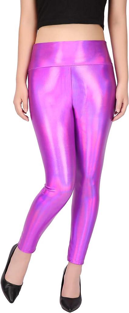 New Rainbow Metallic High Waist Leggings Festival Club Party Size 10-12