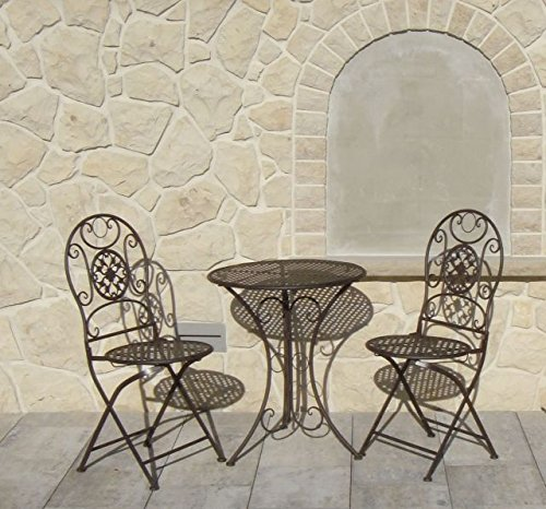 bistroset metall klappstuhl set 2x stuhl 1 tisch eisen garten balkon stuhl g nstig bestellen. Black Bedroom Furniture Sets. Home Design Ideas