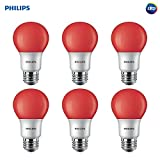 Philips 463216 60W Equivalent Red A19 Led Light Bulb6 Pack