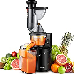 "Aicok Juicer, 3"" Wide Chute Cold Press Slow Masticating Juicer Whole Fruit and Vegetable, Quiet Motor & Reverse Function, Juicer Machine for High Nutrient, Easy to Clean with Brush"
