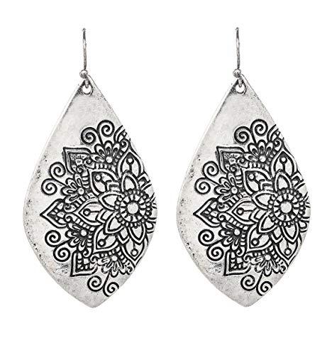Etched Silver-Tone Dangle Earrings (Mandala - Etched Dangle