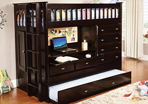 DONCO All in ONE LOFT Bed with Twin ROLL Out Trundle Bed Dark Espresso