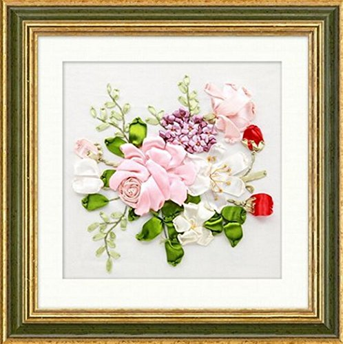 Floral Needlework Kit - Aureate Handmade Silk Ribbon Embroidery Kits Canvas 3D Wall Art Home Decoration DIY Needlepoint Tapestry Hanging Gift Floral 14