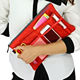 Women Multi-Functional Portable Handbag for Tablet or Computer Cosmetic Gadget Pocket Make-up Bag Toiletries Storage Pouch Travel Bag in Bag Polyester Purse Insert Organizer (red)